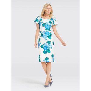 Draper James Peony Floral Silk Shift Dress 10 Blue